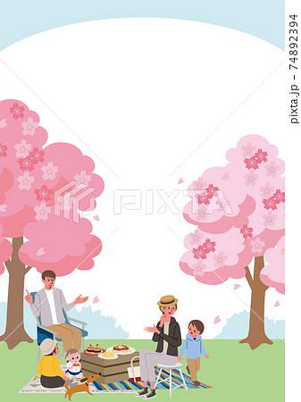 お花見をする家族のイラスト ピクニック 74892394