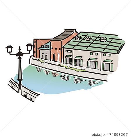 小樽運河の手描き風イラスト(カラー) 74893267