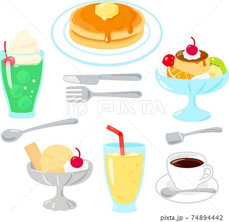 喫茶店のデザートメニューのイラストセット 74894442