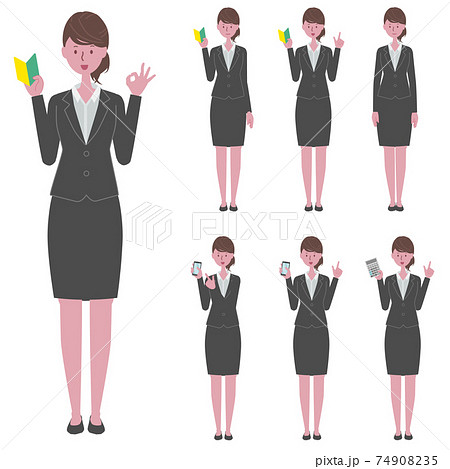 初心者マーク・スマホ・電卓を持つ、黒いスーツを着た女性のイラストセット 74908235