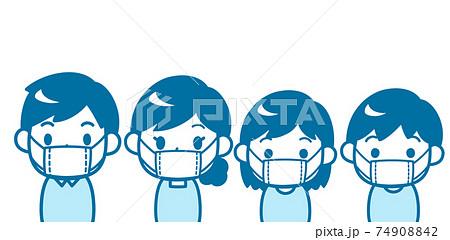 マスクをした家族 74908842