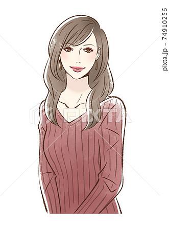 メイクをした笑顔の女性_ボルドー系 74910256