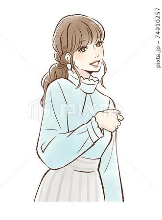 メイクをした笑顔の女性_ベージュ系 74910257