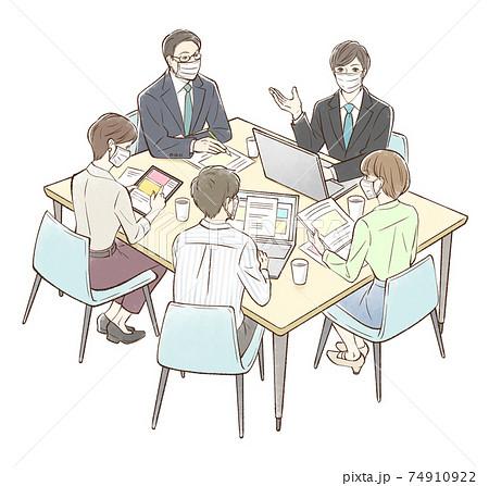 男性を中心にグループでミーティング_マスクあり 74910922