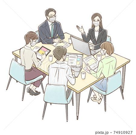女性を中心にグループでミーティング_マスクあり 74910927