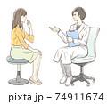 カウンセリングするドクターと女性患者_背景なし 74911674