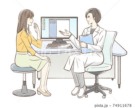 カウンセリングするドクターと女性患者 74911678