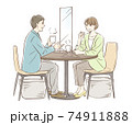 お茶する男女のペア_パーティションあり 74911888