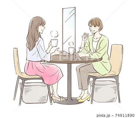 お茶する女性のペア_パーティションあり 74911890