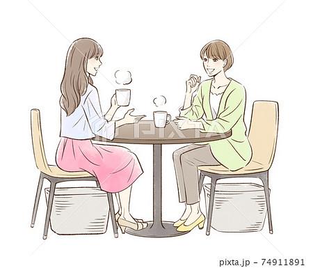 お茶する女性のペア 74911891