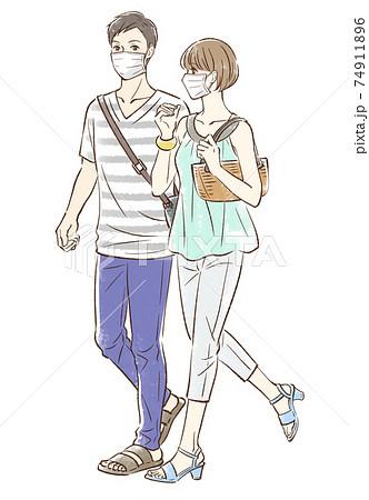 夏っぽい服装でデートするカップル_マスクあり 74911896