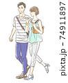 夏っぽい服装でデートするカップル 74911897