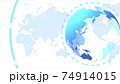 青いデジタルネットワークイメージ白背景 74914015
