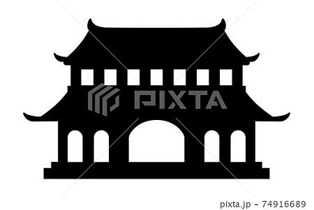 仏教の寺院の白黒シルエットイラスト 74916689