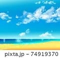 夏の海に砂浜 74919370