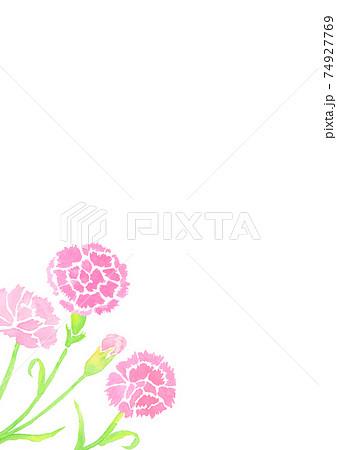 水彩で描いた母の日のカーネーションの背景イラスト  74927769