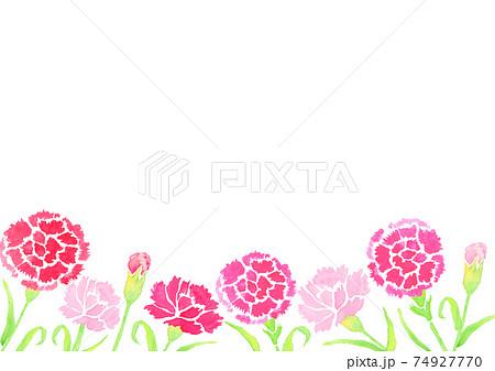 水彩で描いた母の日のカーネーションの背景イラスト  74927770