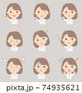 女性の上半身イラストセット(白衣) 74935621
