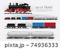 Cargo train on a rail road Vector illustration 74936333