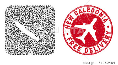 Free Delivery Scratched Stamp Seal and New Caledonia Islands Map Aircraft Inverted Mosaic 74960484