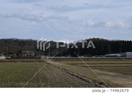 石川県木場潟公園冬景色 白山と田園風景 74962679