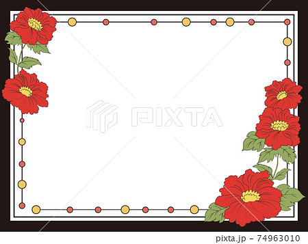 花札風牡丹の装飾フレーム 74963010