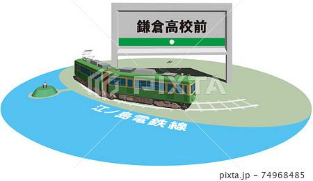 鎌倉高校前 江ノ島電鉄のフレームとパネル ベクターイラスト背景透明 74968485