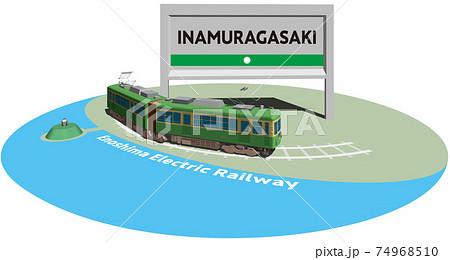 INAMURAGASAKI 江ノ島電鉄のフレームとパネル ベクターイラスト背景透明 74968510