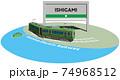 ISHIGAMI 江ノ島電鉄のフレームとパネル ベクターイラスト背景透明 74968512