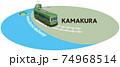 KAMAKURA 江ノ島電鉄のフレーム ベクターイラスト背景透明 74968514