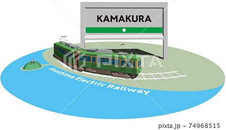 KAMAKURA 江ノ島電鉄のフレームとパネル ベクターイラスト背景透明 74968515