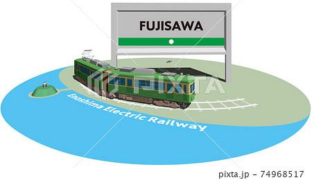 FUJISAWA 江ノ島電鉄のフレームとパネル ベクターイラスト背景透明 74968517