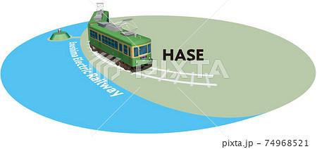 HASE 江ノ島電鉄のフレーム ベクターイラスト背景透明 74968521