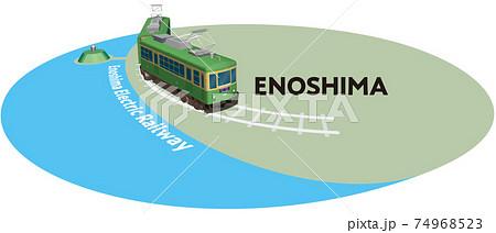 ENOSHIMA 江ノ島電鉄のフレーム ベクターイラスト背景透明 74968523