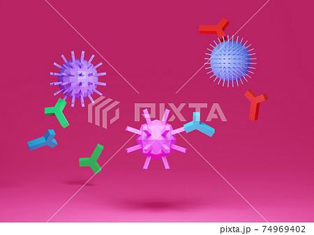 ウイルスと抗体 74969402