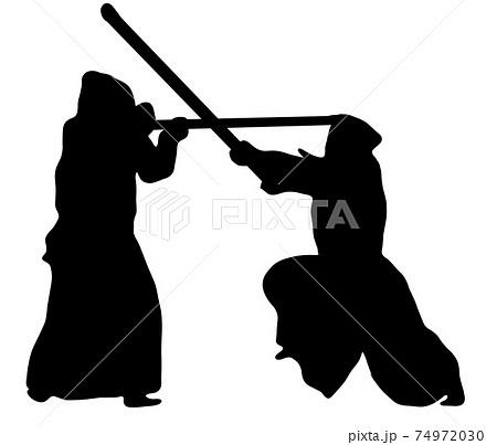 戦う剣道のシルエット 74972030
