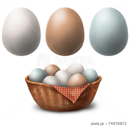 かごに入った色んな色の卵のイラスト 74976872