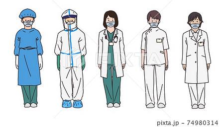 マスクをした医療従事者5人。コロナウイルス関連、医師や看護師、薬剤師など 74980314