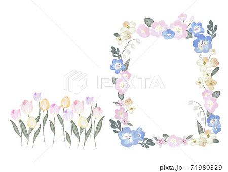 フローラルな春の花フレーム素材 74980329