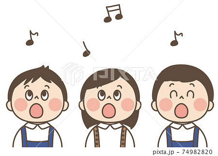 歌うこども かわいいイラスト 74982820