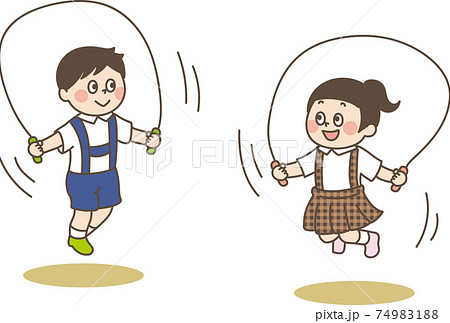 なわとびをする子ども かわいいイラスト 74983188