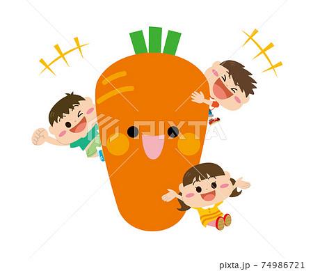 野菜/ニンジンと子どもたち 74986721