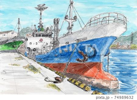 港に停泊した貨物船 74989632