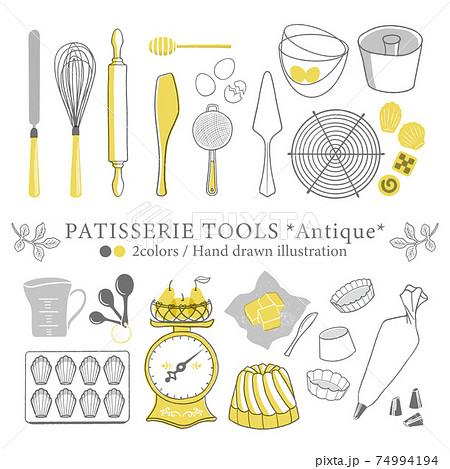 アンティーク調の製菓道具のイラスト/素朴な線描き 74994194