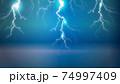 青い背景に光る雷のイラスト 74997409