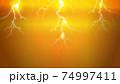 黄色い背景に光る雷のイラスト 74997411