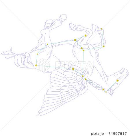 88星座シリーズA-白背景に星座絵と星座線-ペガスス座 74997617