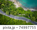 Aerial view of road between coconut palm tree and great ocean at daytime in Nakhon Si Thammarat, Thailand 74997755