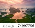 Aerial view of Phang Nga Bay in Samed Nang Chee viewpoint at sunrise, Phang Nga, Thailand 74997756