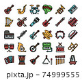 Music Instrument Color Outline Vector Icons 74999555